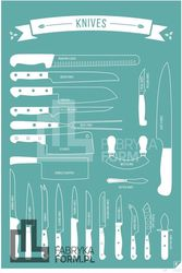 Plakat Types of Knives 21 x 30 cm turkusowy