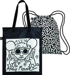 Torba i plecak w zestawie LOQI Museum Keith Haring Andy Mouse
